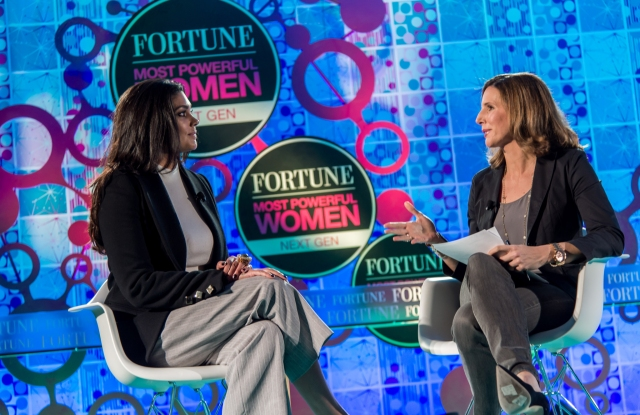 Rachel Roy and Leigh Gallagher at Fortune Most Powerful Women Next Gen Summit