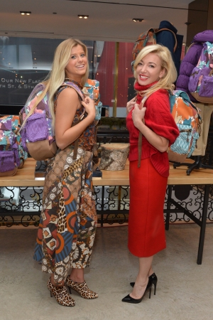 """Peytie Slater and Federica Marchionni model the """"Global Classmate"""" backpack."""