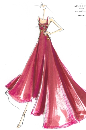 A dress sketch from Marchessa Notte for Rent the Runway