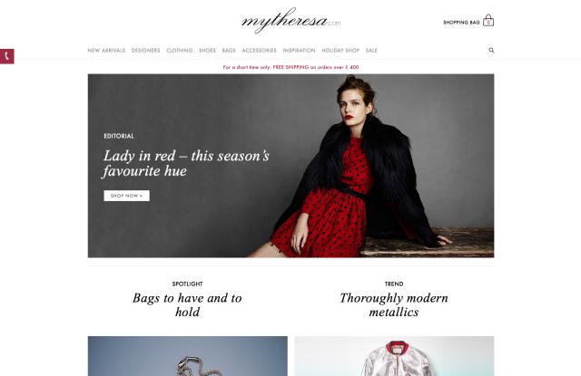 A screenshot of Mytheresa new website homepage
