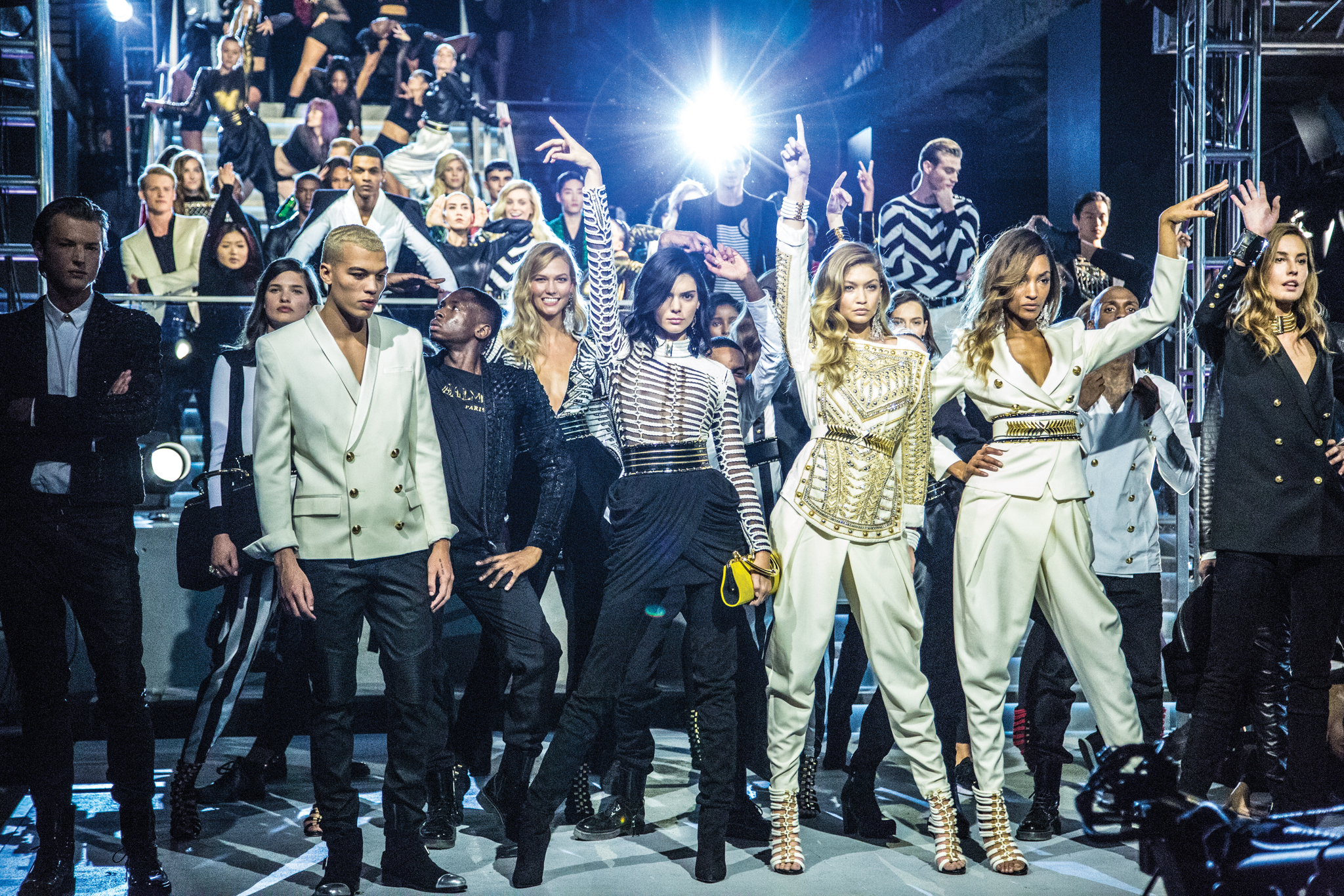 Karlie Kloss, Kendall Jenner and Gigi Hadid on the Balmain x H&M runway.