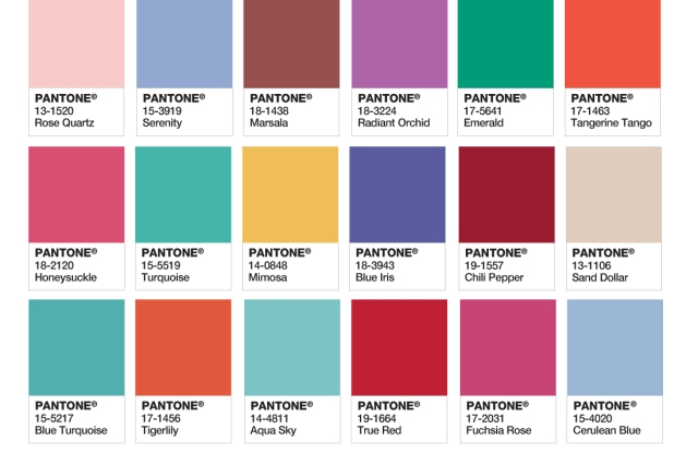 PANTONE Colors of the Year 2000 - 2016