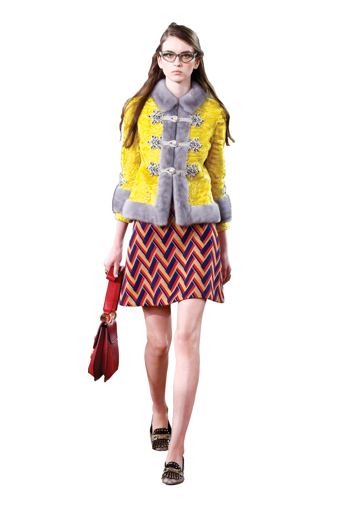 """""""Anything from Alessandro Michele's Gucci collections. In particular, the lamb and mink fur jacket ($26,500) paired with a Chevron jacquard A-line skirt ($990) and GG Marmont leather shoulder bag ($2,590) — a look fresh off the fall '15 runway."""" — Tiziana Cardini, Fashion Director of La Rinascente"""