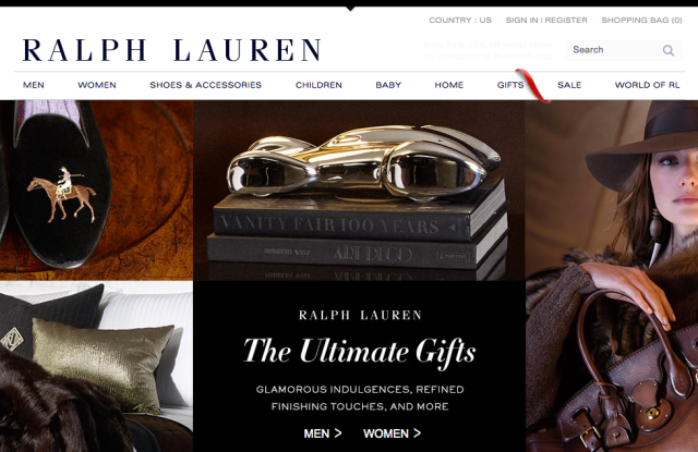 The Ralph Lauren homepage.