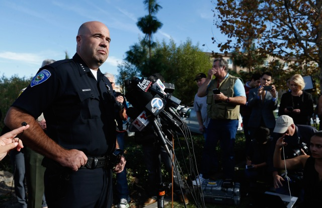 San Bernardino Police Chief Jarrod Burguan speaks with the media regarding the mass shooting that occurred at the Inland Regional Center.