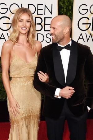 Rosie Huntington-Whiteley and fiancé Jason Statham at the Golden Globe Awards.