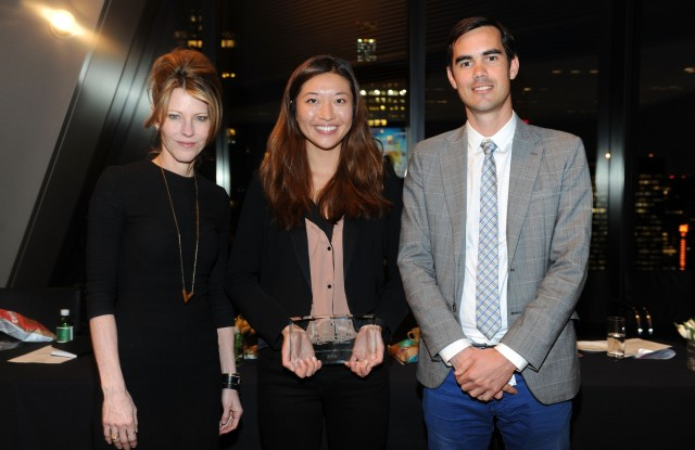 Elle U.S. editor in chief Robbie Myers, with Six Food's Rose Wang and CDI's Nicolas Hazard