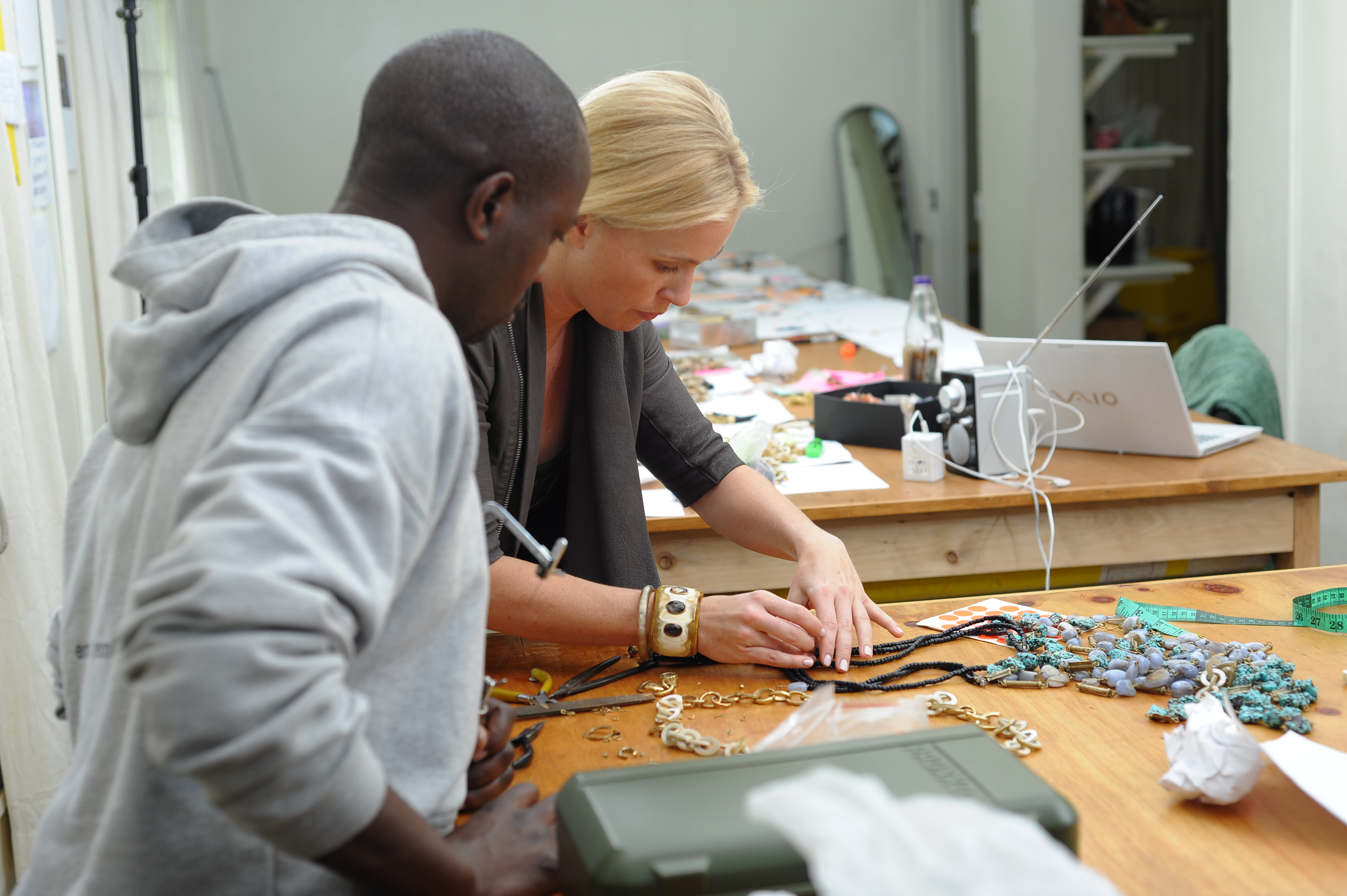Ashley Pittman with one of her jewelry makers in Kenya