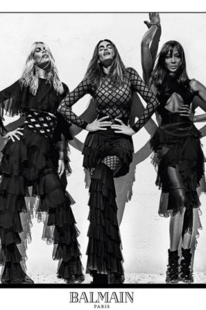 Claudia Schiffer, Cindy Crawford and Naomi Campbell in the Balmain Spring/Summer 2016 ad campaign.