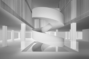 Rendering of the spiral staircase at Barneys opening in Chelsea.