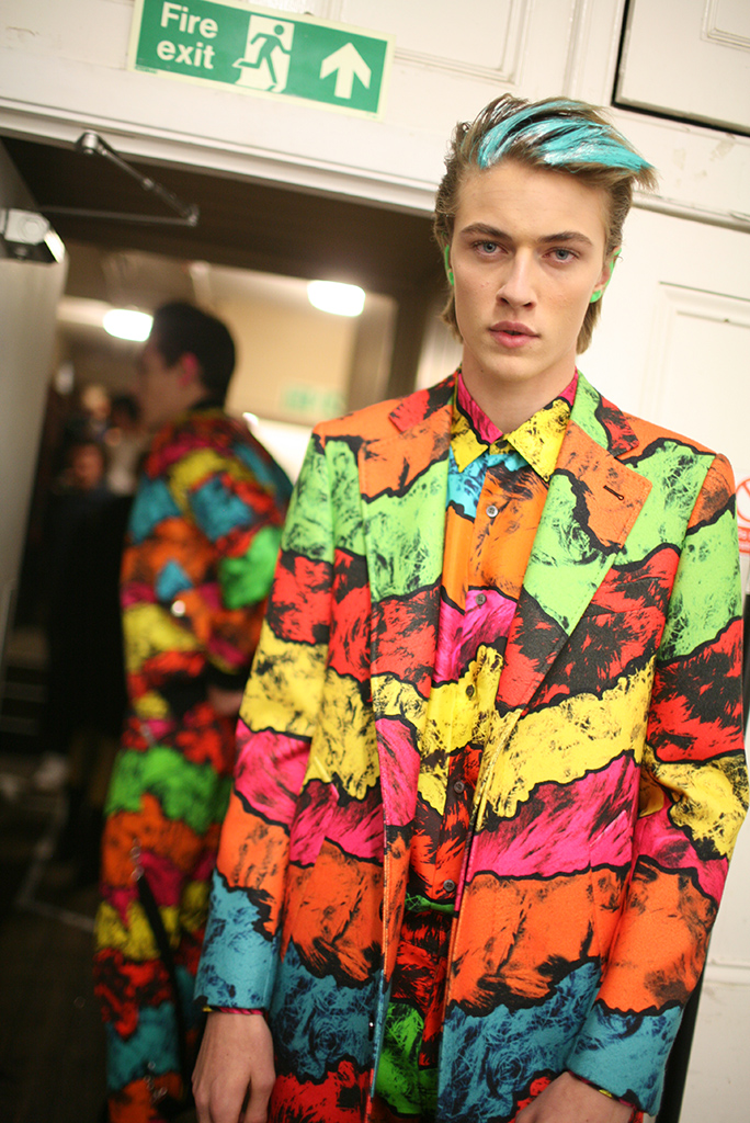 Backstage at Moschino Men's Fall 2016