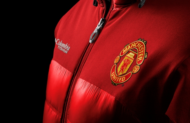 A look from the dual branded Columbia-Manchester United outerwear line.