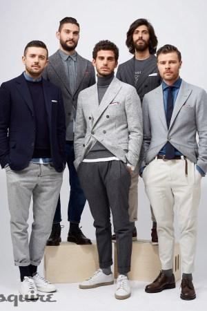 Brunello Cucinelli's Enzo Biagiotti, Alessio Lillocci, Tommaso Angeli, Alessio Piastrelli and Daniele Chiavo at Pitti Uomo.