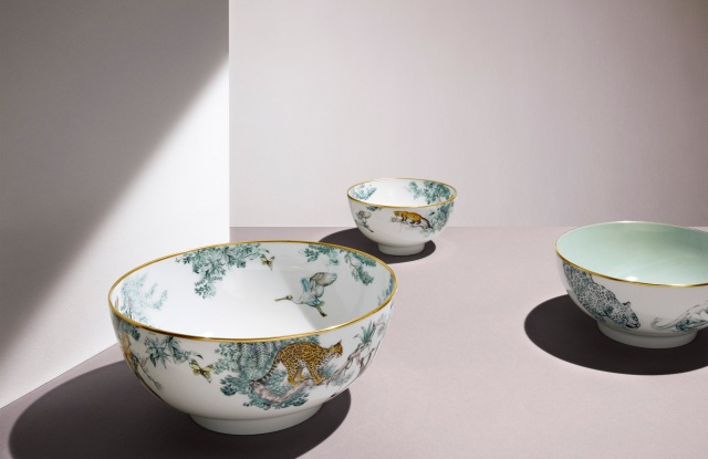 Items from the Carnets d'Equateur tableware collection from Hermès