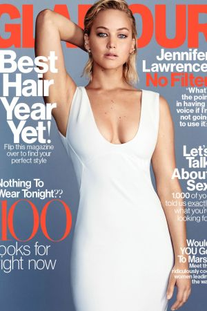 aThe cover of US Glamour featuring Jennifer Lawrence.