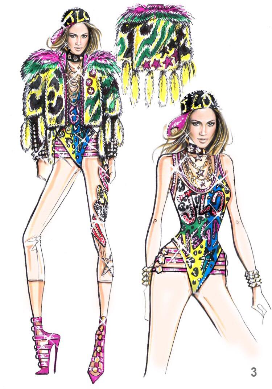 A costume sketch by Versace for Jennifer Lopez's Las Vegas show.