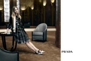 Sasha Pivovarova in Prada's new ad campaign.
