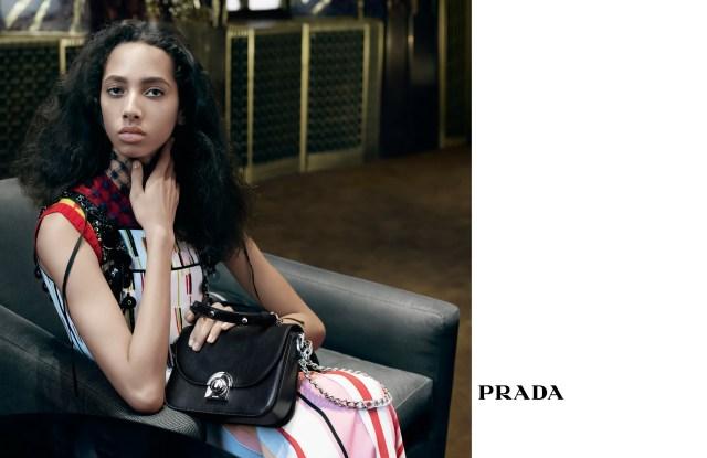 Yasmin Wijnaldum in Prada's new ad campaign.