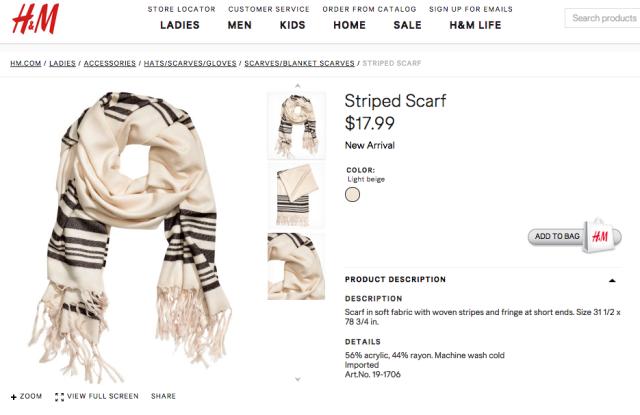 H&M's fringed scarf