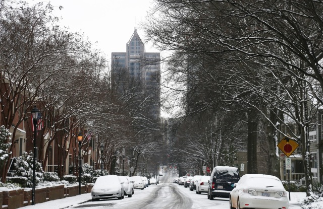 A view of empty streets near Uptown Charlotte, N.C. on Friday.