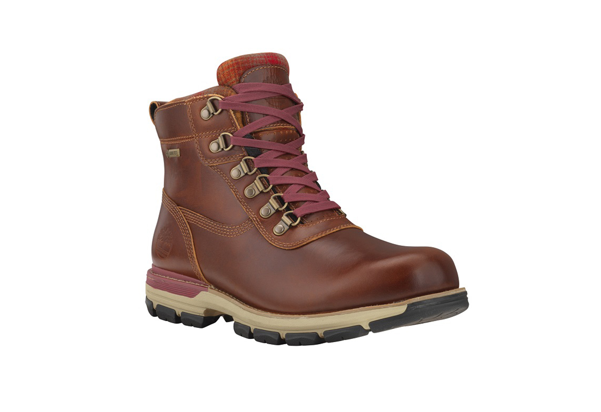 A Timberland rubber boot.