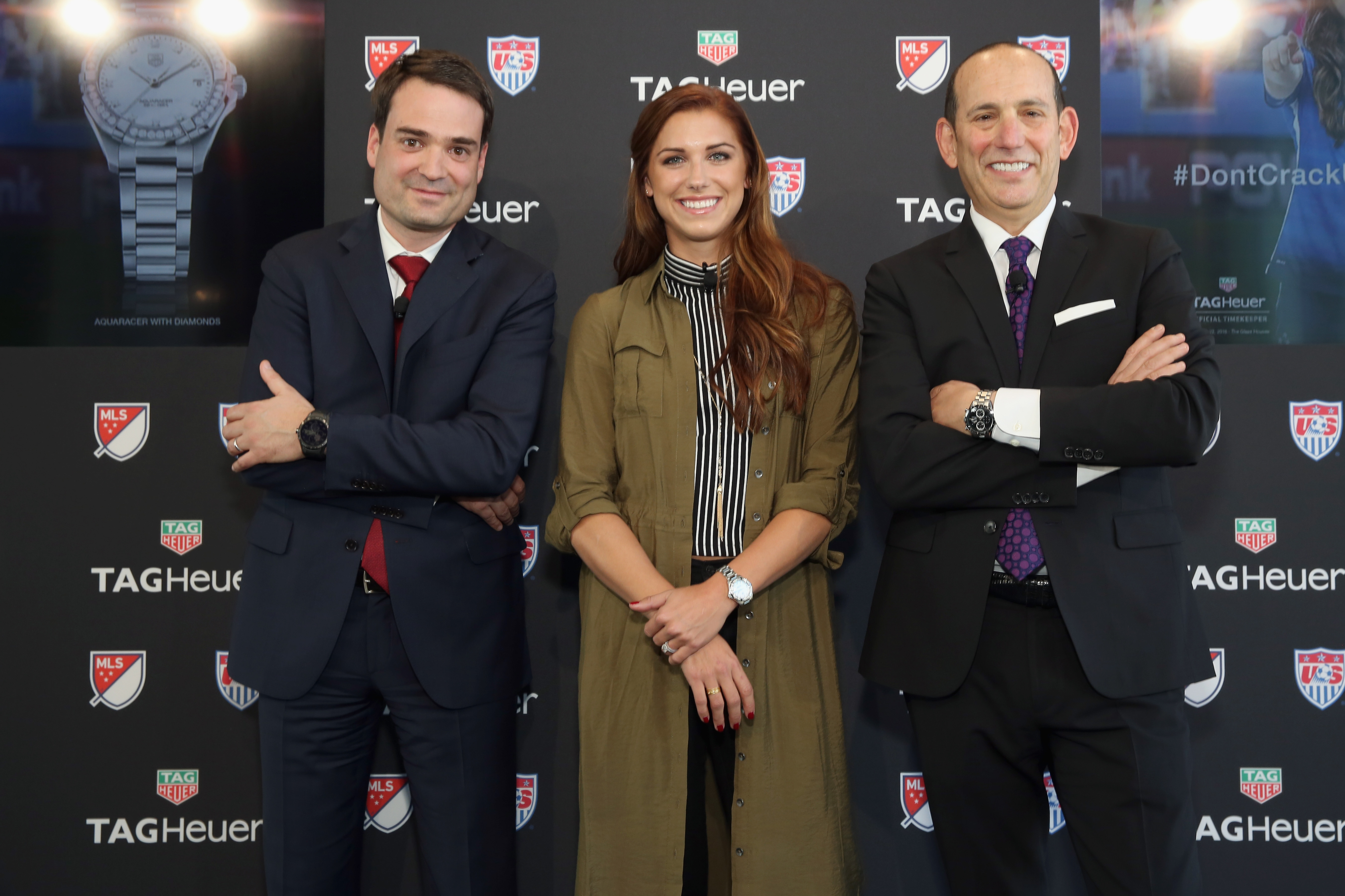 Tag Heuer's Kilian Muller, women's soccer player Alex Morgan and Major League Soccer commissioner Don Garber