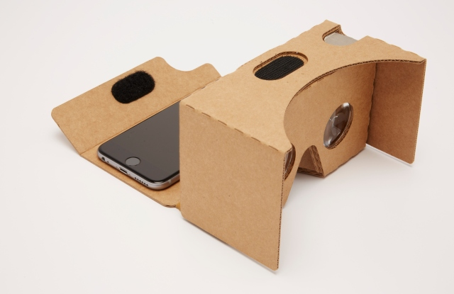 Google Cardboard is a virtual reality headset that works with a smartphone.