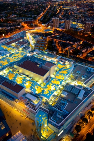 An aerial view of Westfield London.