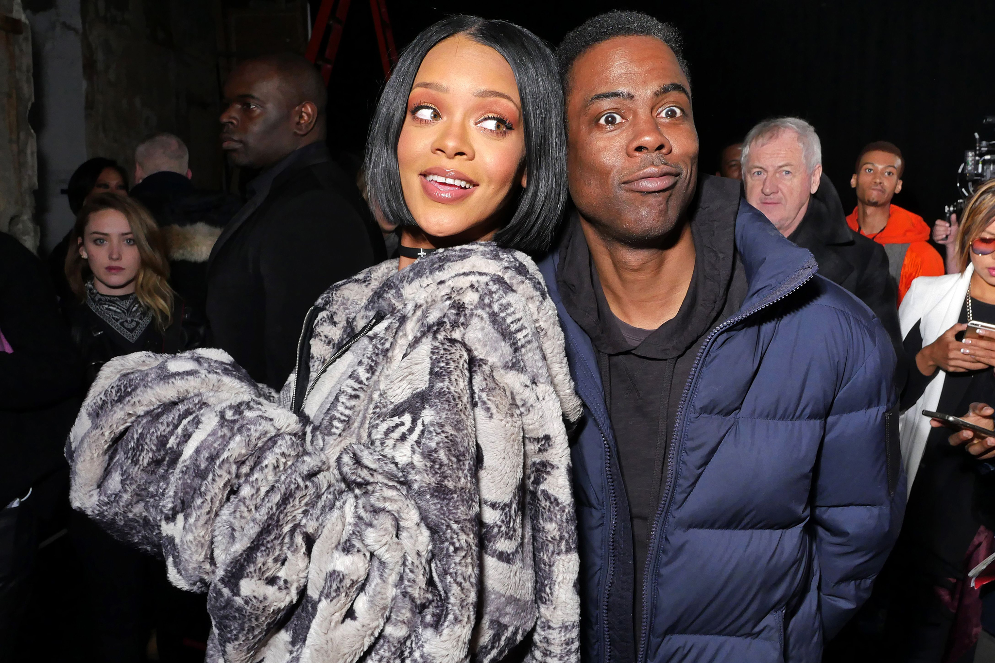 Rihanna and Chris Rock at Fenty Puma by Rihanna show, Fall 2016, New York Fashion Week