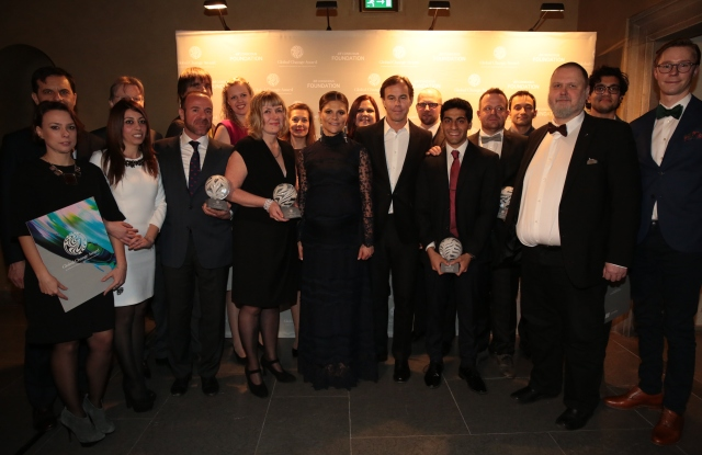 The winners of the H&M Conscious Foundation Global Change awards with Victoria, Crown Princess of Sweden, and Karl-Johan Persson.