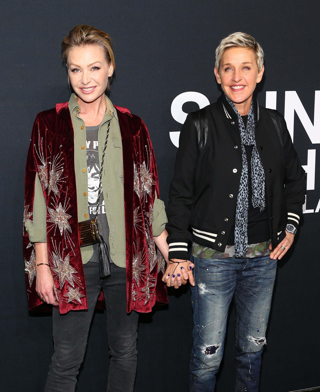 Portia de Rossi and Ellen DeGeneres at Saint Laurent Fall 2016