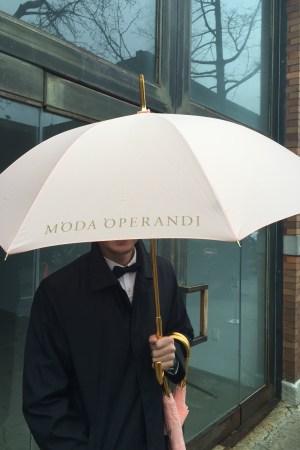 Moda Operandi handed out umbrellas during NYFW.
