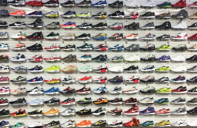 Sneakers on display at Stadium Goods.