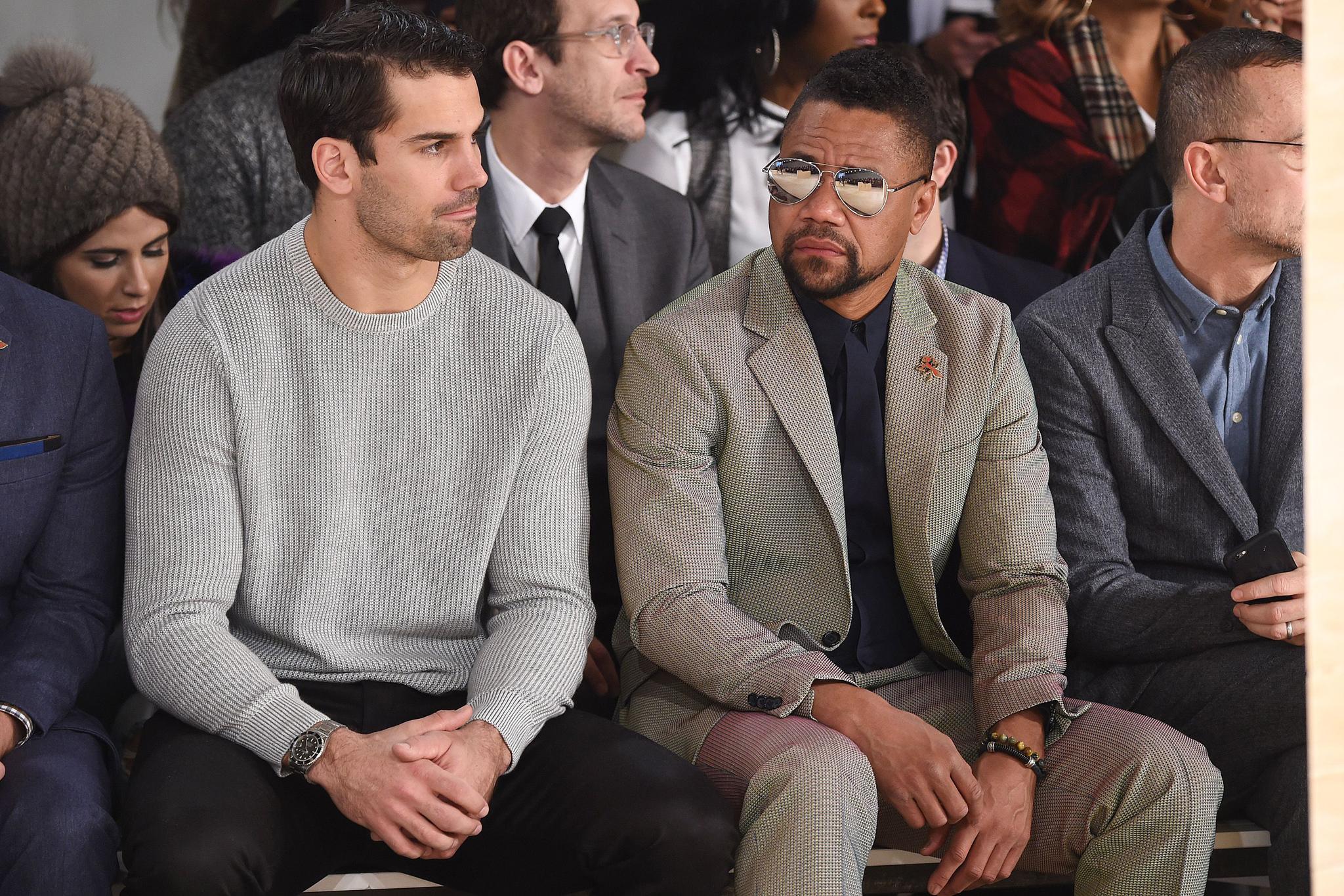 Eric Decker and Cuba Gooding Jr. AT Perry Ellis show, Front Row, Fall Winter 2016, New York Fashion Week: Men's, America - 03 Feb 2016