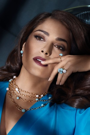 Salma Hayek featured in Pomellato's 2016 ad campaign, photographed by Mert Alas and Marcus Piggott.
