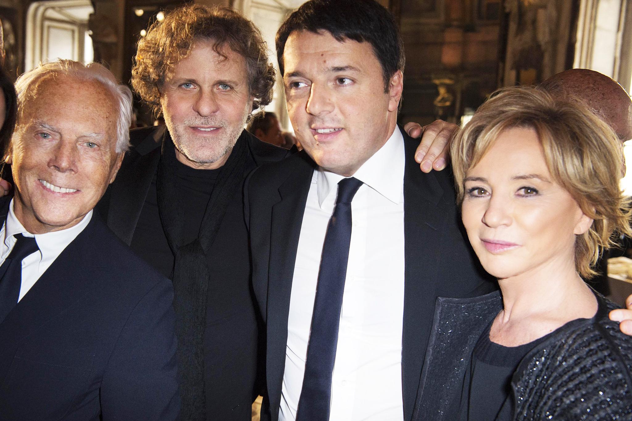 Giorgio Armani, Renzo Rosso, Matteo Renzi and Alberta Ferretti.