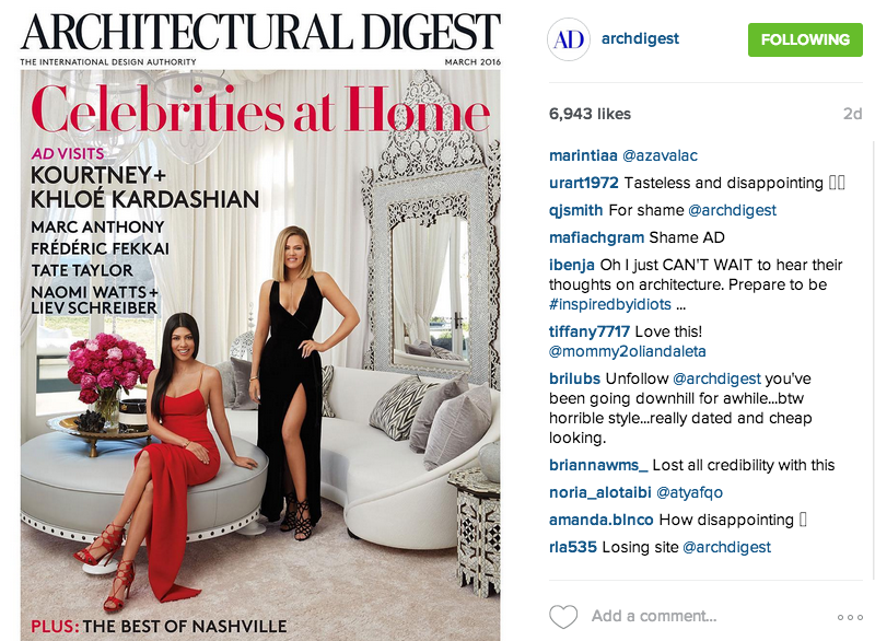 Architectural Digest's Instagrammed March Cover.