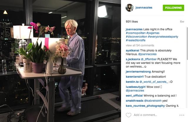 Joanna Coles in pjs on Instagram.