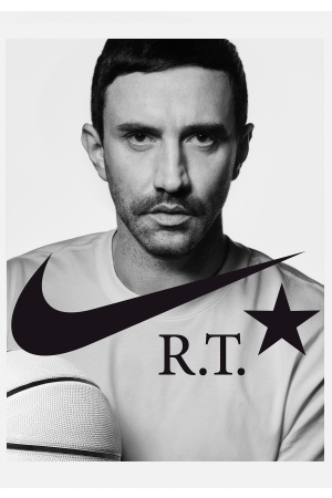 Riccardo Tisci in the ad for NikeLab Dunk Lux High x RT.