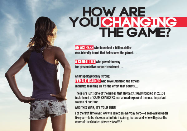 An ad for Women's Health's 'Game Changer' contest.