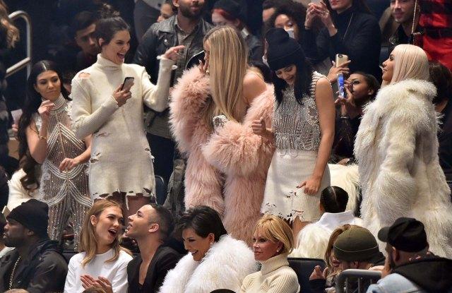 Kourtney Kardashian, Kendall Jenner, Khloé Kardashian, Kylie Jenner, Kim Kardashian, 50 Cent, Karlie Kloss, Olivier Rousteing and Kris Jenner.
