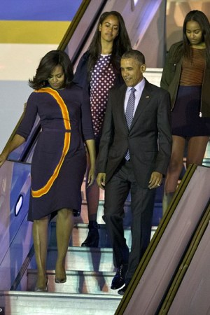 First Lady Michelle Obama in Narciso Rodriguez upon arriving in Buenos Aires.