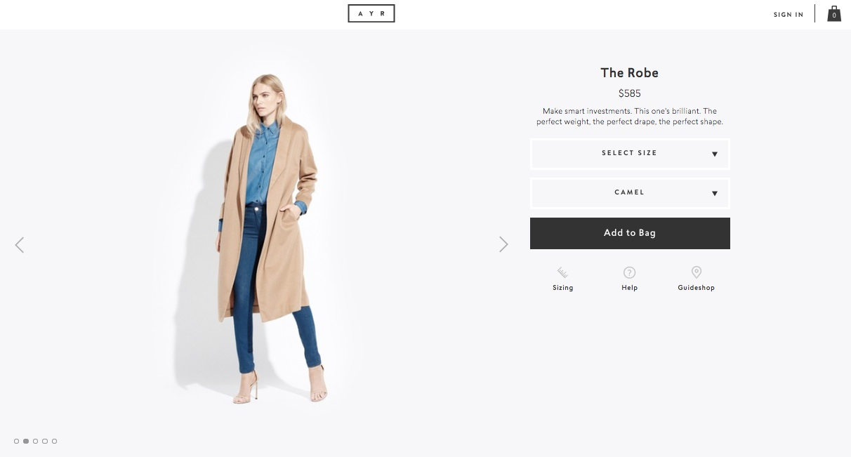 "Ayr's ""The Robe"" jacket."