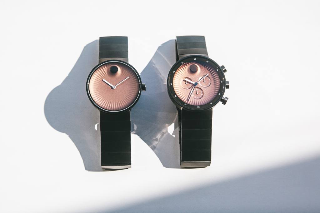 Two models of Movado's Edge watch.