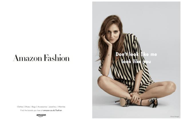 Chiara Ferragni's Amazon Fashion campaign.