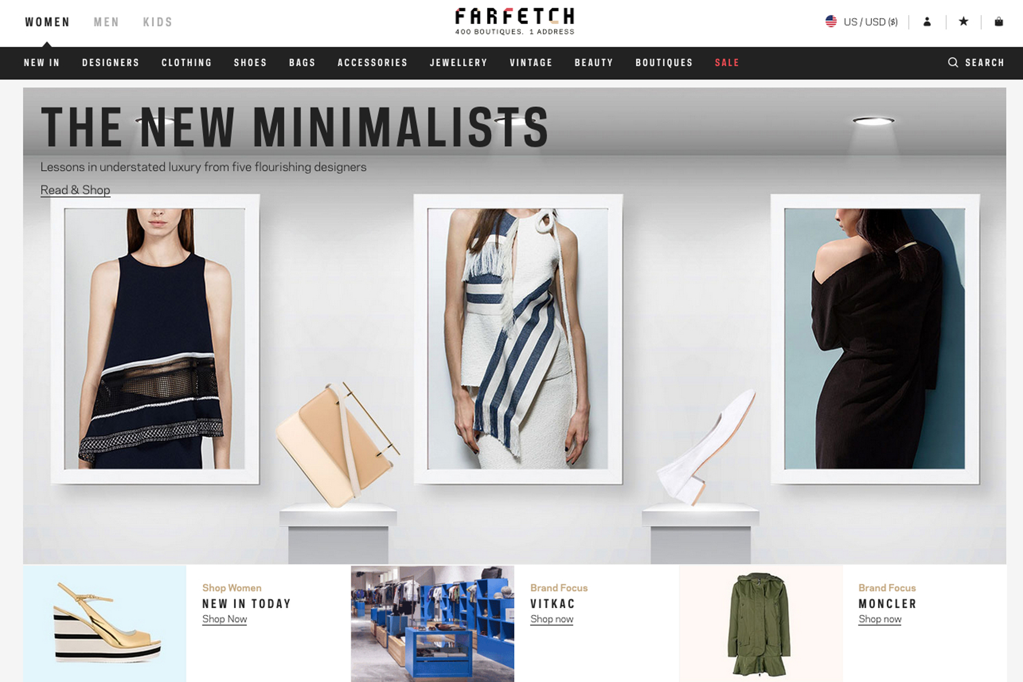 A page from the Farfetch Web site.