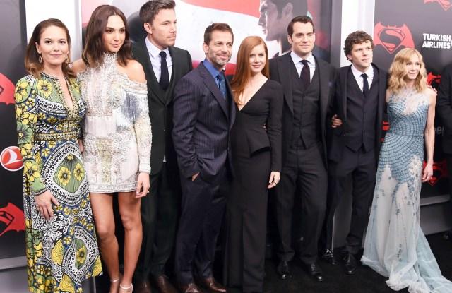 Diane Lane, Gal Gadot, Ben Affleck, Zack Snyder, Amy Adams, Henry Cavill, Jesse Eisenberg and Holly Hunter.