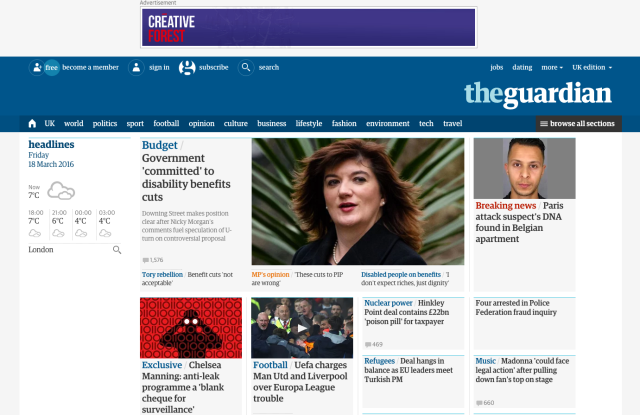 The Guardian's website