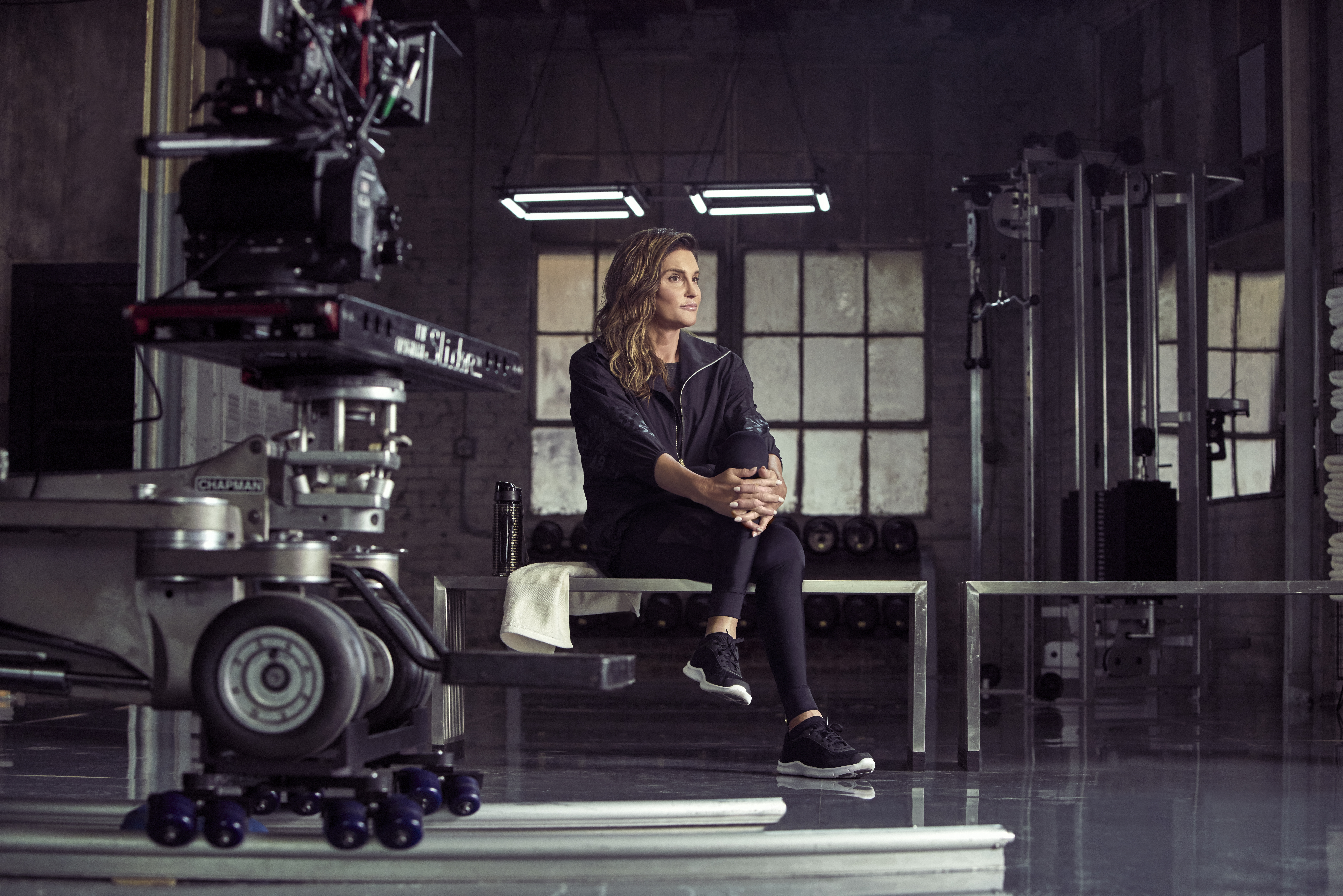 A behind-the-scenes image of Caitlyn Jenner in the new H&M Sport campaign