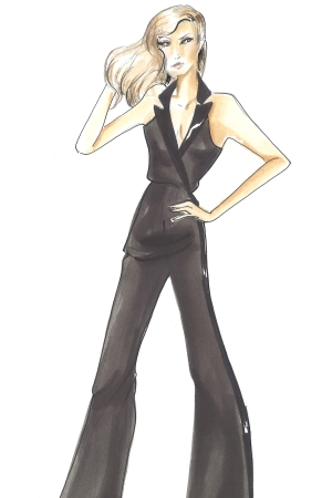 A sketch of a jumpsuit from Jake + Blake's custom collection for fall 2016.